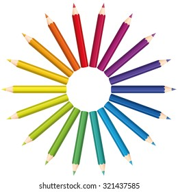 Colored pencils that form a rainbow colored color fan circle. Isolated vector illustration over white background.