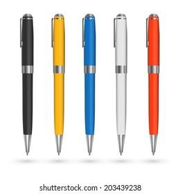Colored pens vector set.