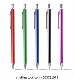 Colored pens vector set