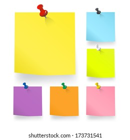 Colored pieces of Blank Notes Vector.