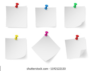 Colored pin push with note paper. Realistic vector illustration.