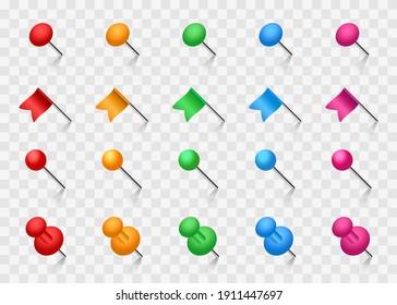 Colored pins set. Push pins, flags and stationery needles. Vector illustration.