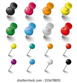 Colored pins an tacks on the white background. Eps 10 vector file.