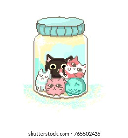 colored pixel cats in a different mood in a transparent jar with a blue lid for websites and games