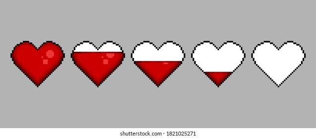 Colored pixel hearts for video games. 8 bit vector icons of full and empty life. Minimalist vector isolated objects for the arcade. Cute pixel art. Gaming controller, symbols set. Graphic life bar.