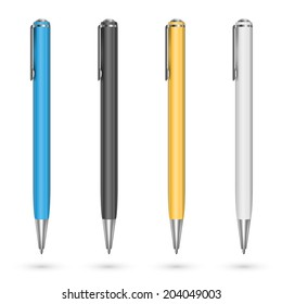 Colored plastic pens. Vector illustration