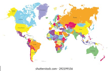 World map vector countries images stock photos vectors shutterstock colored political world map with country names and capital cities gumiabroncs