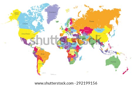 Colored political world map country names stock vector royalty free colored political world map with country names and capital cities gumiabroncs Image collections