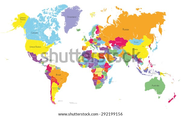 Colored Political World Map Country Names Stock Image ...