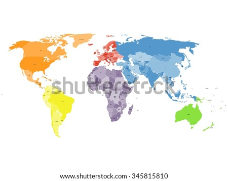 Colored Political World Map Map World Stock Vector (Royalty Free ...