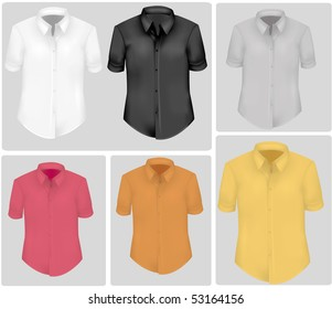Colored polo shirts. Photo-realistic vector illustration.