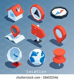 colored polygonal isometric location icon set