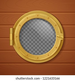 Colored porthole realistic composition golden with transporent background and with wooden wall vector illustration