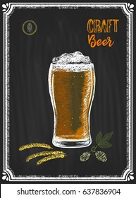 Colored poster in a frame with a glass of beer surrounded by spikelets and a branch of hop prepared in chalk on a blackboard. Lettering craft beer.