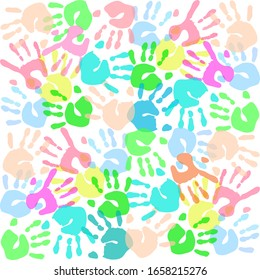 colored prints of children's hands on a white background. vector illustration.