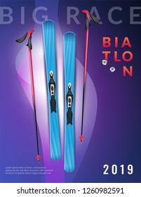 Colored purple realistic biathlon vertical poster big race biathlon headline and ski vector illustration