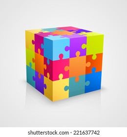 Colored puzzle cube. Vector illustration