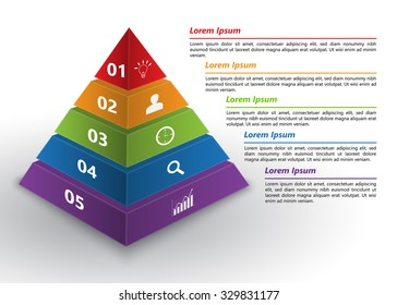 Colored Pyramid 3D with Number and Business Icon, Text Information, 5 Options, Financial and Business Infographic, Vector Illustration