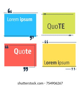 Colored quote speech bubble template. Quotes form and speech box isolated on white background. Vector illustration.