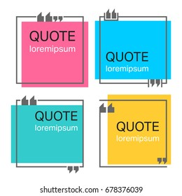 Colored quote square template. Quotes form and speech box isolated on white background. Vector illustration.
