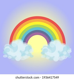 Colored rainbow with clouds on blue and yellow Gradient Mesh sky background. Vector illustration in flat design.