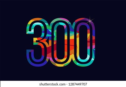 colored rainbow number 300 logo design suitable for a company or business