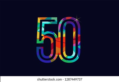 colored rainbow number 50 logo design suitable for a company or business