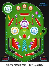 Colored and realistic 3 d pinball composition with pinball hit strike description vector illustration