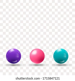Colored realistic 3d balls with shadow. Design element. Purple, Blue, Pink