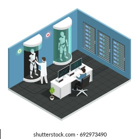 Colored realistic artificial intelligence isometric composition with scientific laboratory with a scientist vector illustration