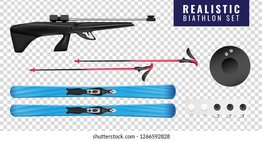 Colored realistic biathlon transparent horizontal icon set with ski gun and target vector illustration