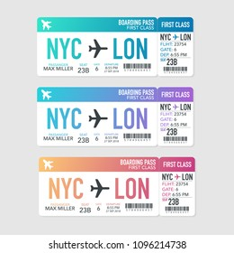 Colored realistic boarding pass composition with information about passenger. Vector stock illustration.