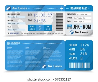 Colored realistic boarding pass composition with information about passenger on the front side and the back vector illustration