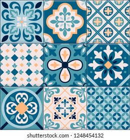 Colored and realistic ceramic floor tiles ornaments icon set for creation of different pattern vector illustration