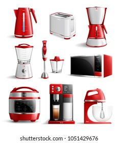 Colored realistic household kitchen appliances icon set with red elements and stylish type vector illustration