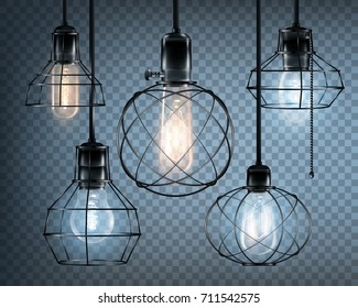 Colored realistic loft style lights icon set with glowing light bulbs on transparent background vector illustration