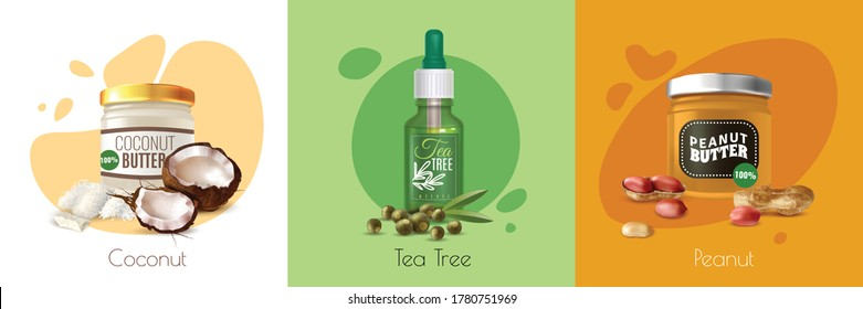 Colored realistic oil product design concept with coconut tea tree and peanut bottles of oil vector illustration