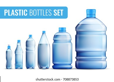 Colored realistic plastic bottles icon set for water in different sizes and for different target audiences vector illustration