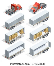 Colored and realistic truck isometric icon set with truck carrying loads and several types of trailers vector illustration