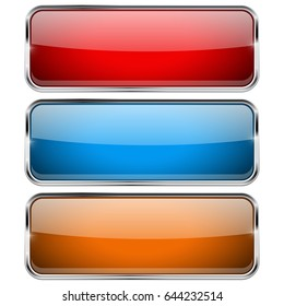 Colored rectangle buttons. Glass web icons. Vector 3d illustration isolated on white background