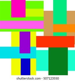 Colored rectangles on a white background. Geometric shapes of various sizes and delicate colors.