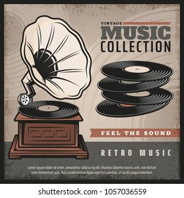 Colored retro gramophone poster with turntable or phonograph and vinyl records in vintage style vector illustration