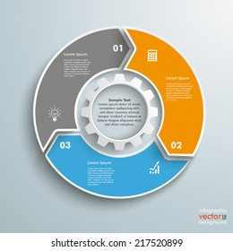 Colored ring with 3 options on the grey background. Eps 10 vector file.