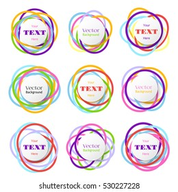 Colored rings banners. Colorful overlapping circles bubbles. Vector color ring with space for text, illustration of badge with rings