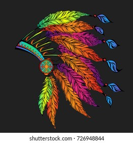 Colored roach.Indian feather headdress of eagle