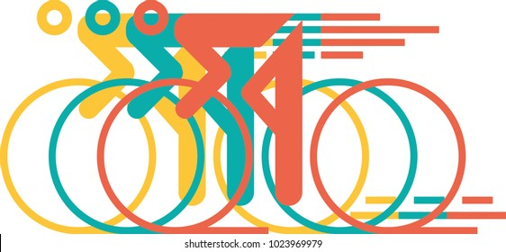 colored road bike pictogram
