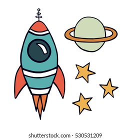 Colored rocket, planet and stars. Vector hand drawing illustration