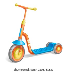 Colored roller scooter for children. Balance bike. Eco city transport. Vector kick scooter collection. Push cycle isolated on white
