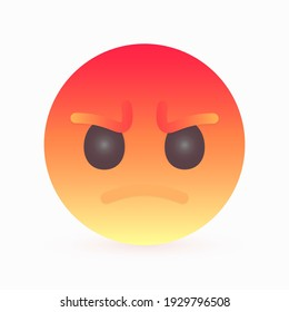 Colored round bubble with an angry expression. Emotion of agitation, anger, discontent. Vector illustration