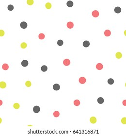 Colored round spots. Scattered polka dot drawn by hand. Seamless pattern. Vector illustration. White, pink, dark gray, yellow-green.